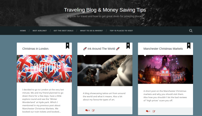 "blog-screenshot of ""travelling blog & money saving tips"" to show the home page of blog site linked to the website."