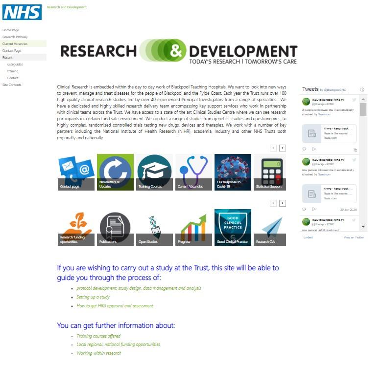 NHS sharepoint internal website screenshot for portfolio of erik farish web designs.